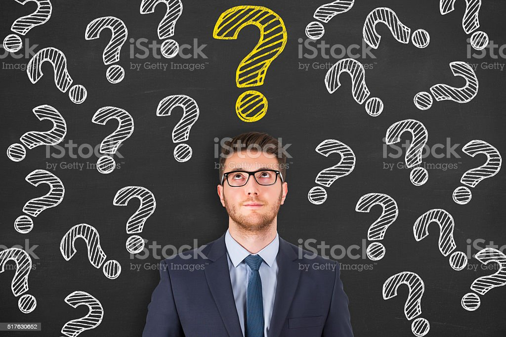 Man with Question Mark stock photo