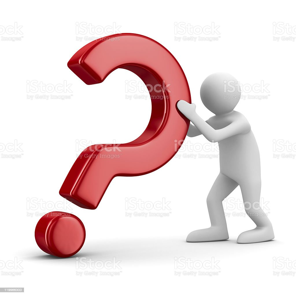 man with question on white. Isolated 3D image royalty-free stock photo