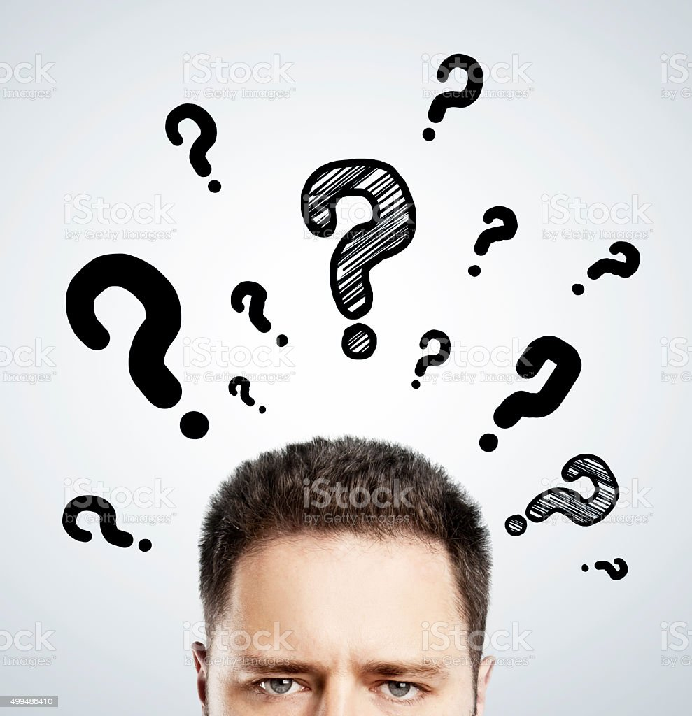man with questions symbol over head stock photo