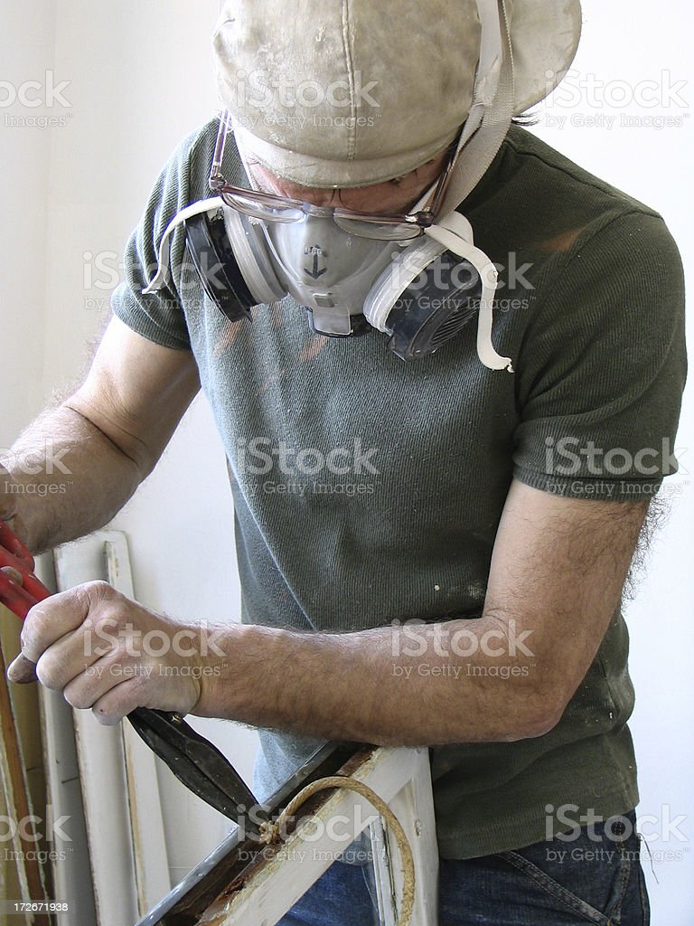 Man with respirator royalty-free stock photo
