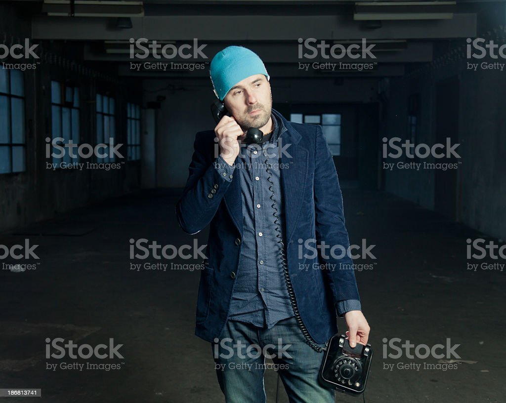 Man with retro phone royalty-free stock photo