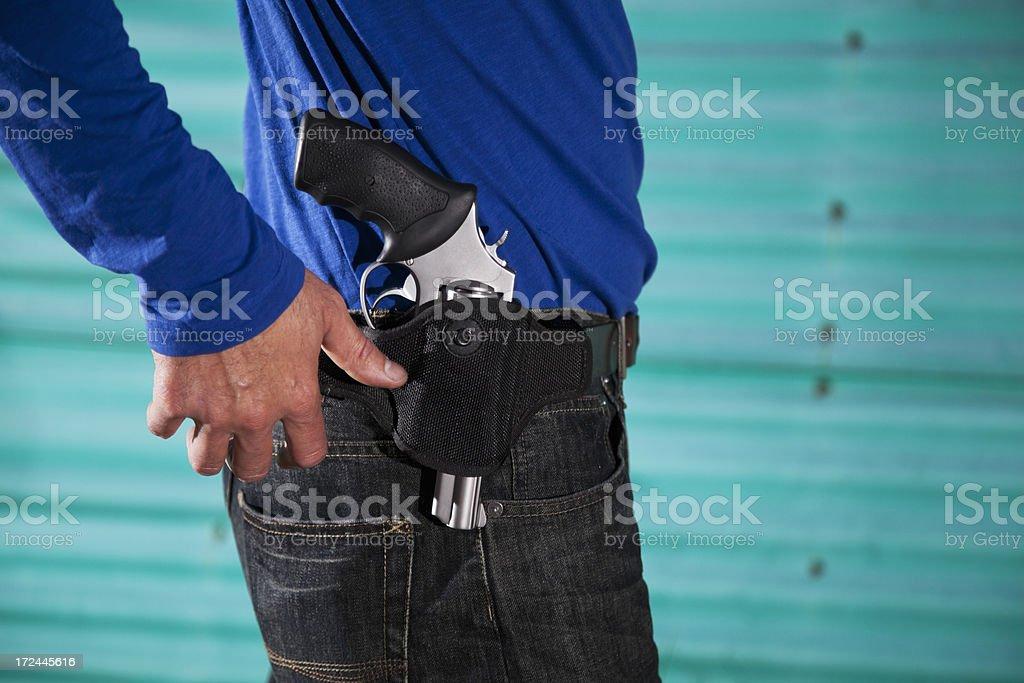 Man with revolver stock photo