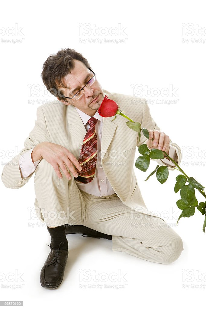 man with rose royalty-free stock photo