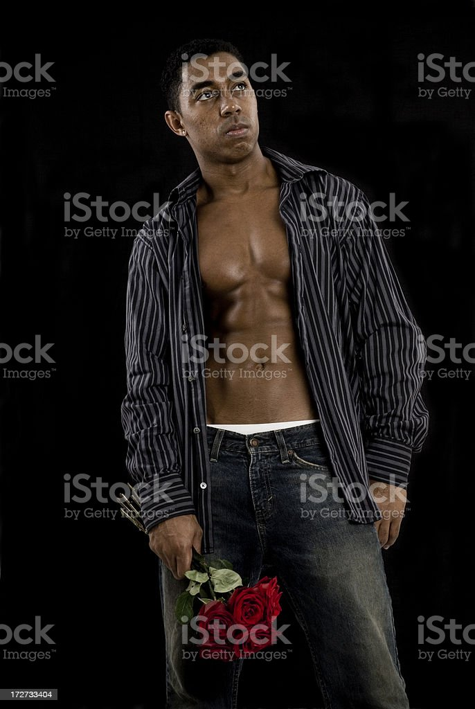 Man With Roses royalty-free stock photo