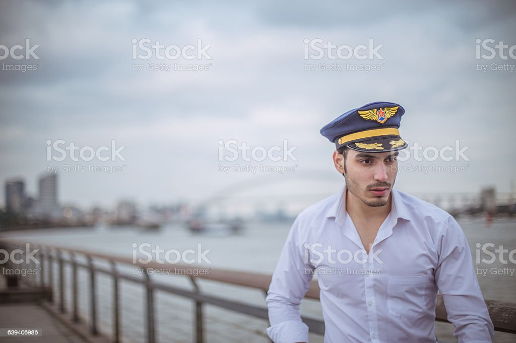 Man with sailor hat stock photo