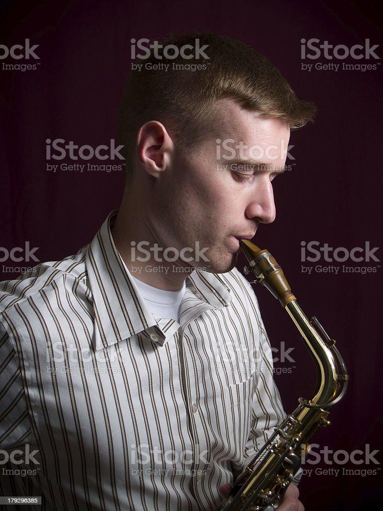 Man with Saxophone stock photo