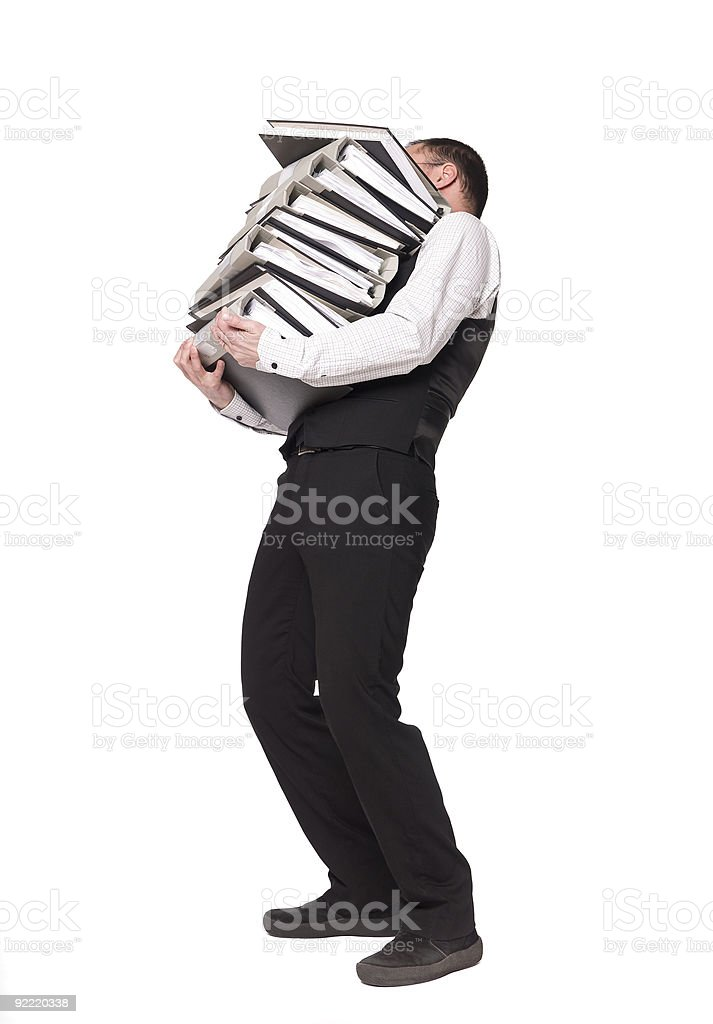 Man with several binders royalty-free stock photo
