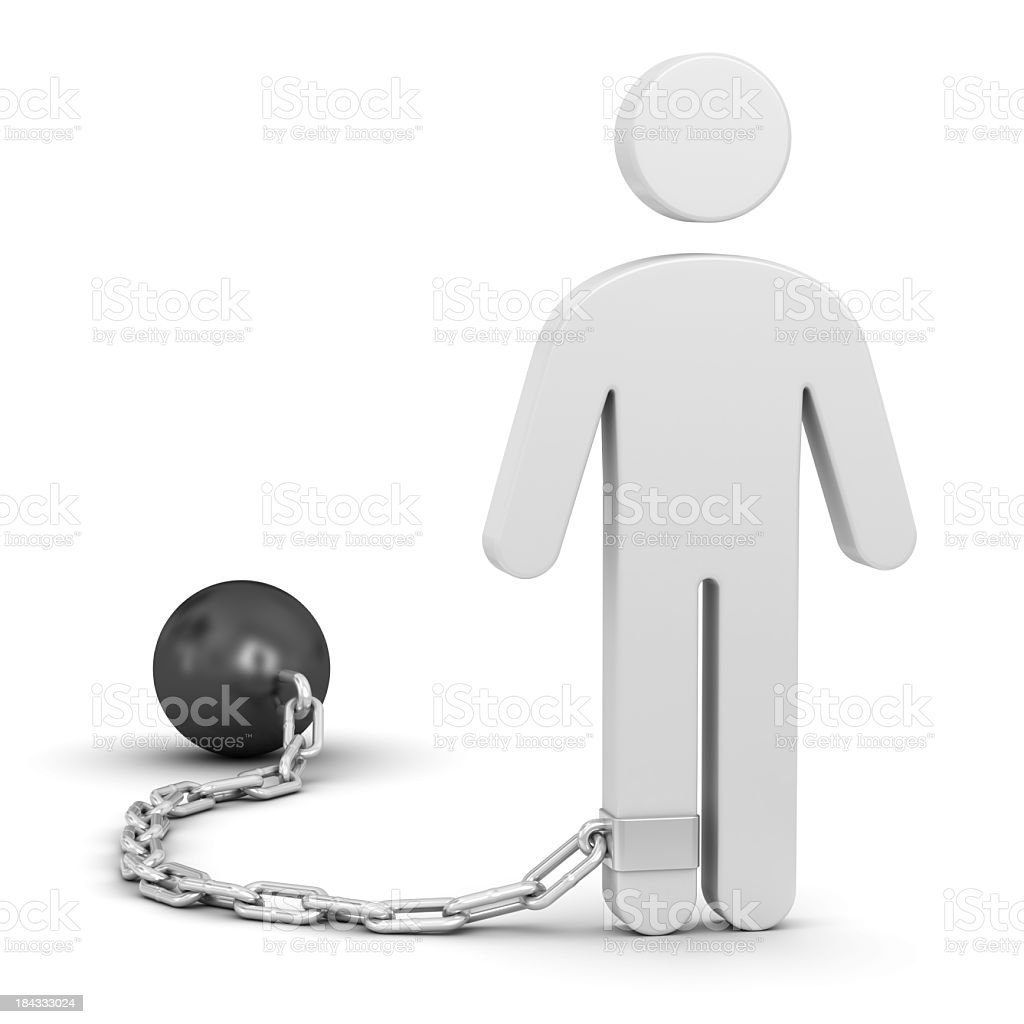 Man with shackle stock photo