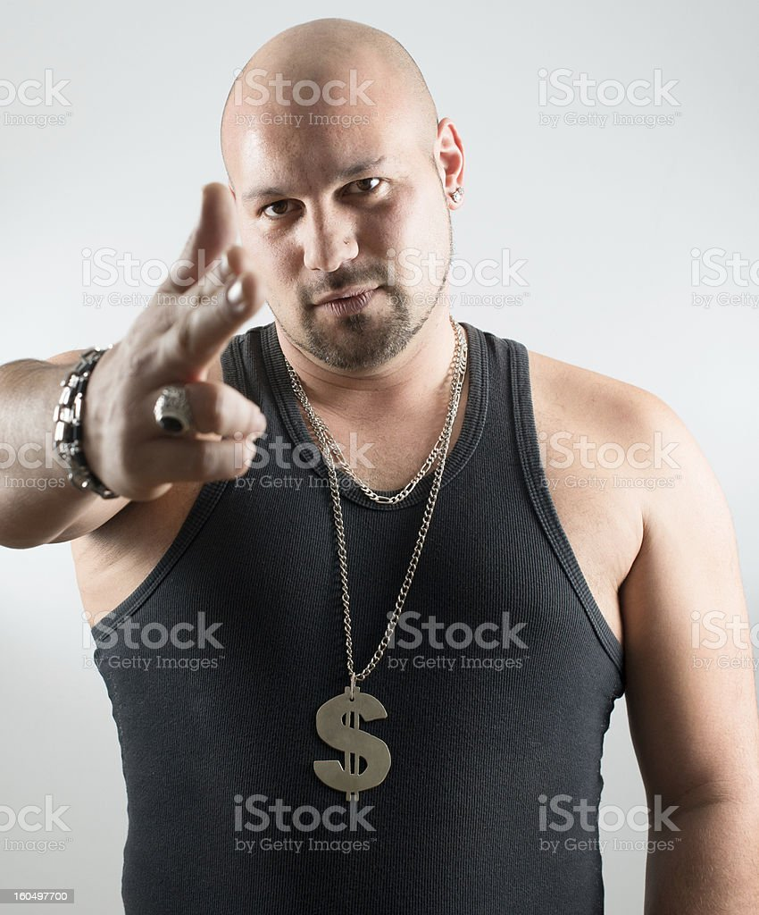 Man with shooting gesture royalty-free stock photo