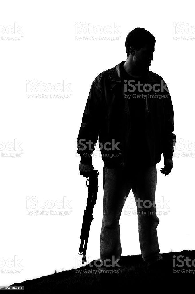 Man with Shotgun Silhouette stock photo