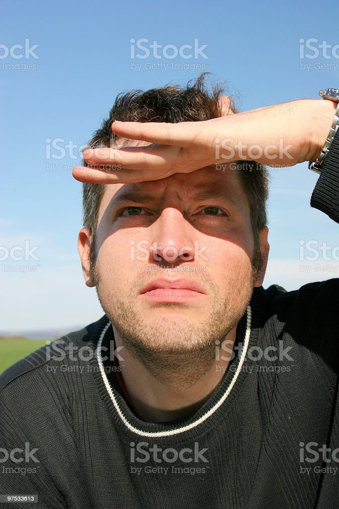 Man with sight into to distance royalty-free stock photo