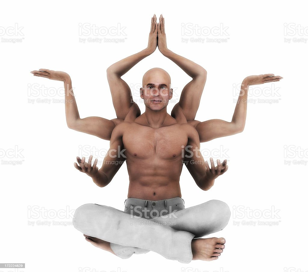 Man with six arms meditation royalty-free stock photo