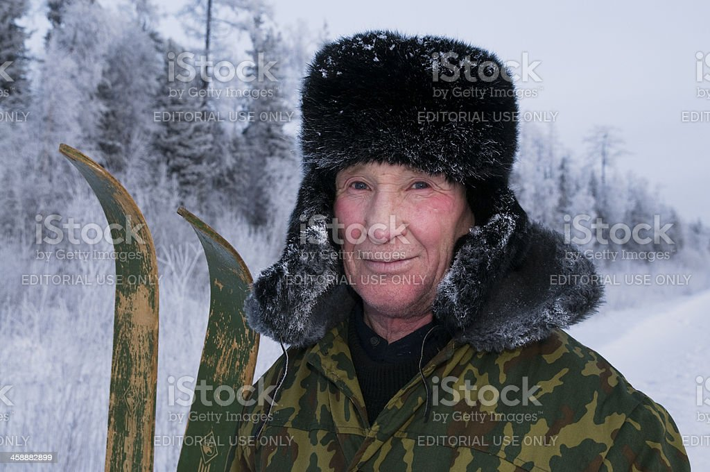 Man with skis. stock photo