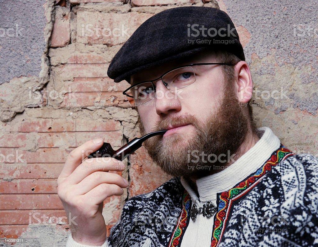 man with smoking pipe stock photo