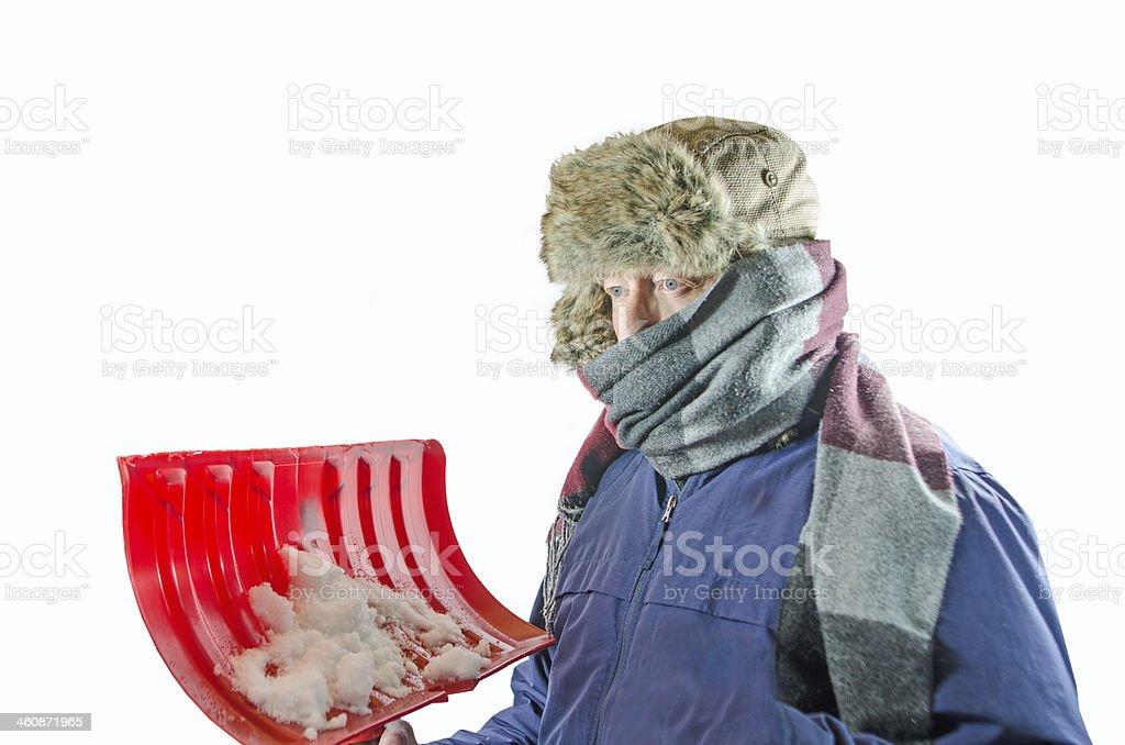 Man with Snow Shovel stock photo