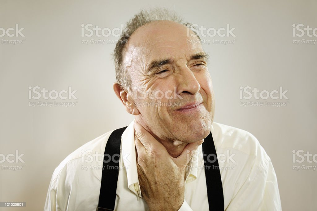 Man with sore throat stock photo
