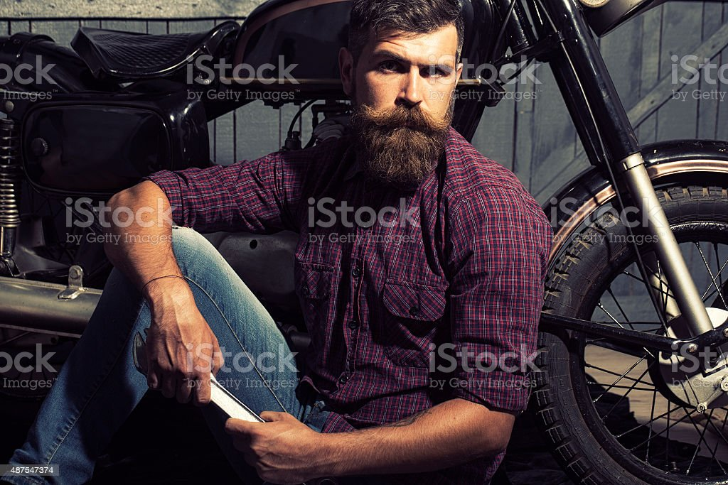 Man with spanner stock photo