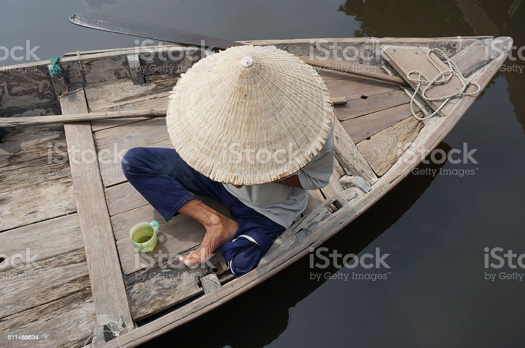 Man with straw hat stock photo