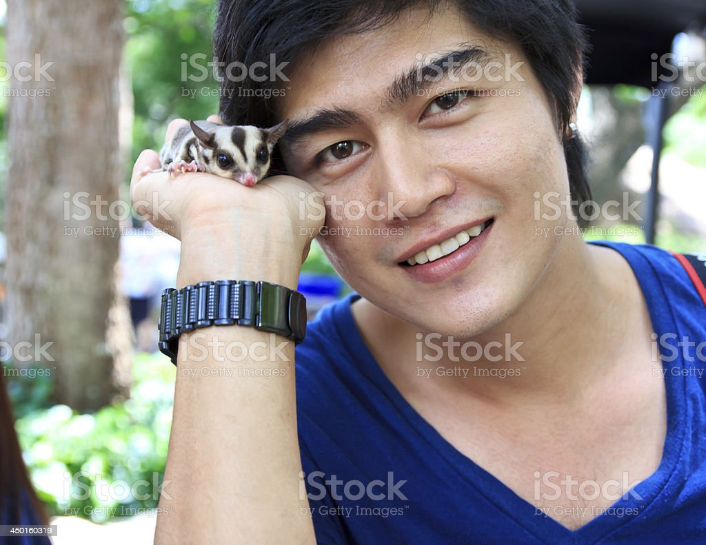 Man with sugar glider stock photo
