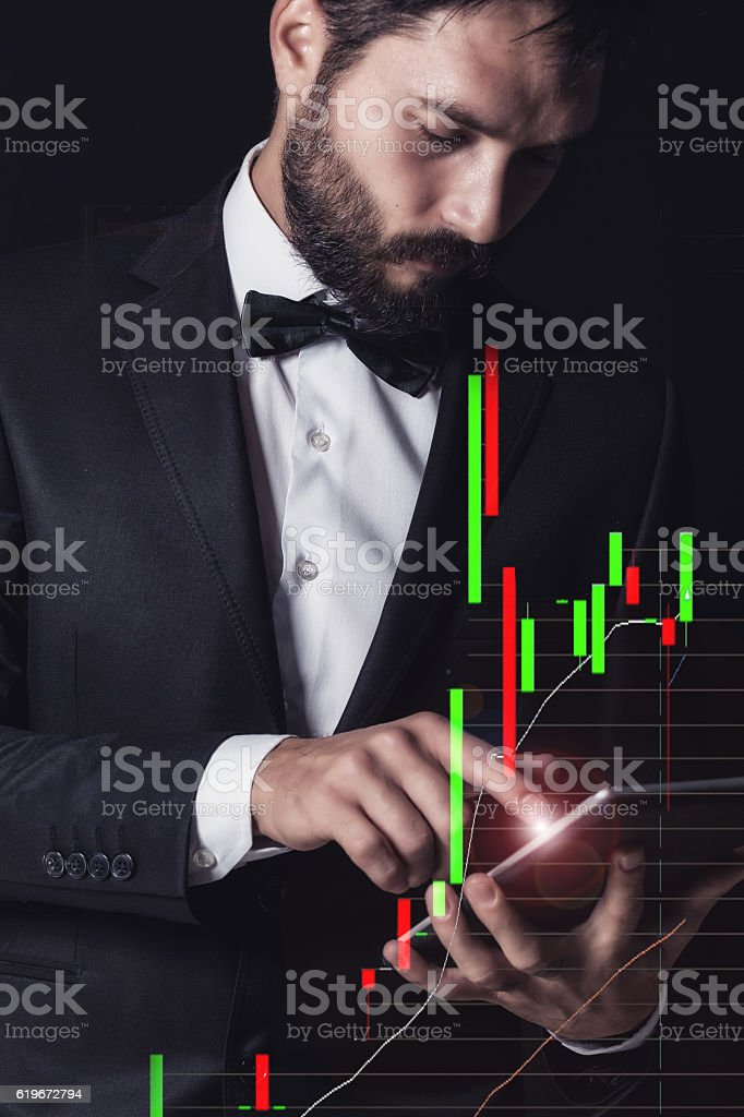 Man with suit and phone double exposure vector art illustration