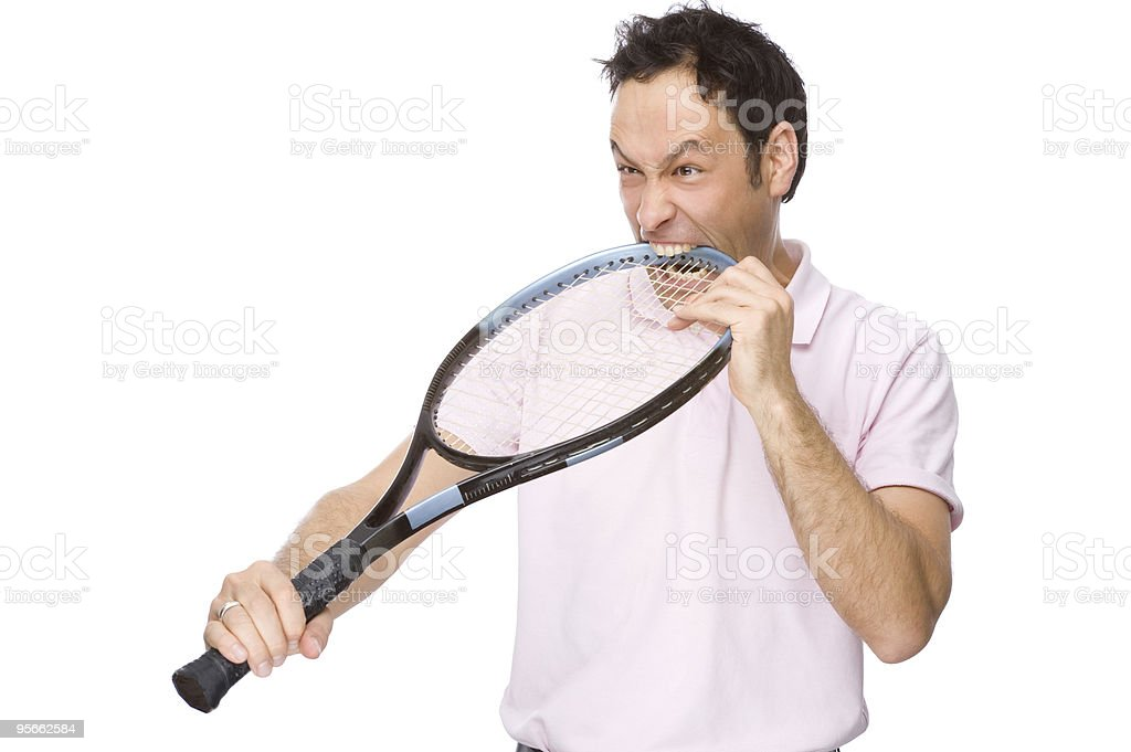 Man with tennis racket royalty-free stock photo