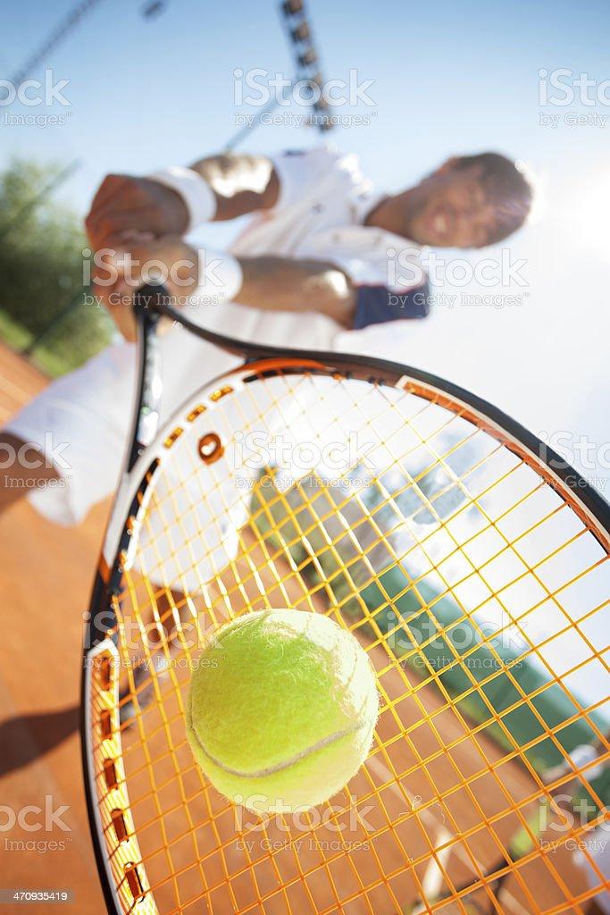 man with tennis racquet stock photo