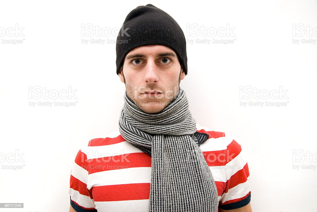 man with the cap and scarf royalty-free stock photo