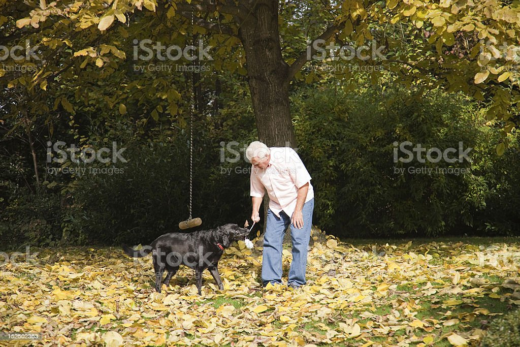 Man with the dog. royalty-free stock photo