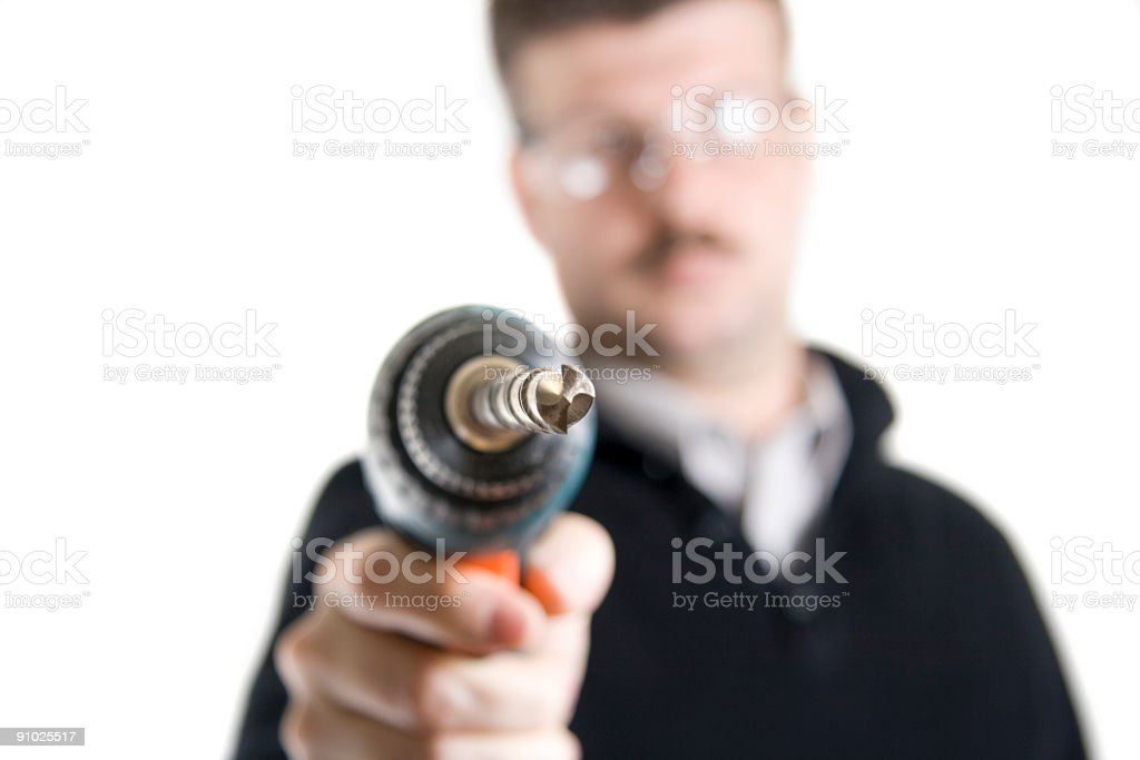Man with the drill royalty-free stock photo