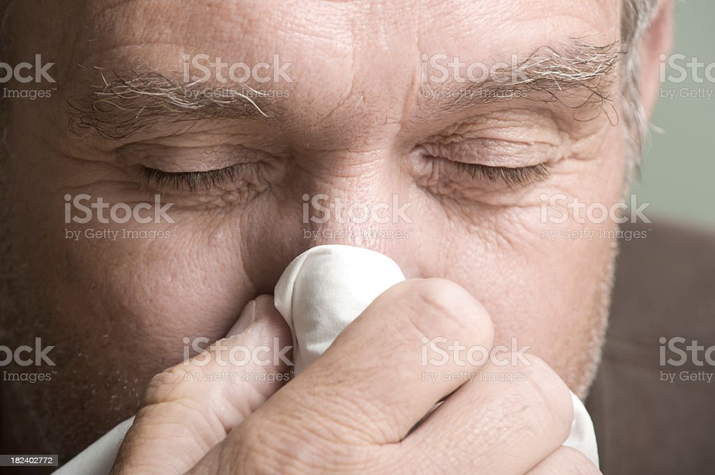 Man with the Flu. stock photo