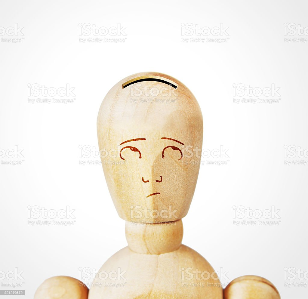 Man with the head as a money box stock photo