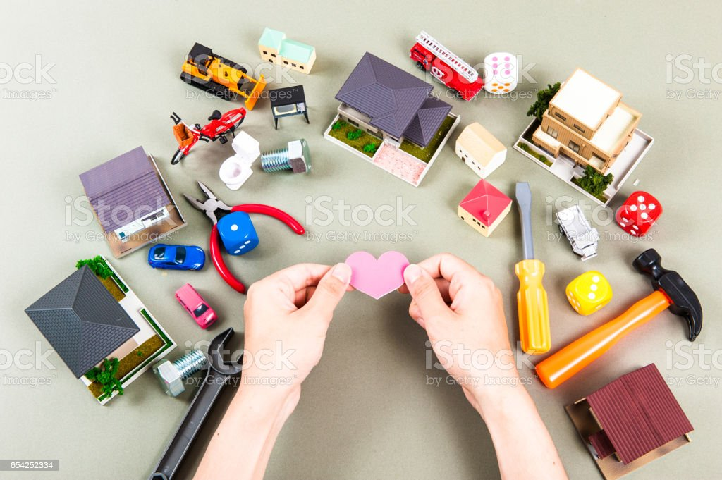 Man with the heart in hand stock photo