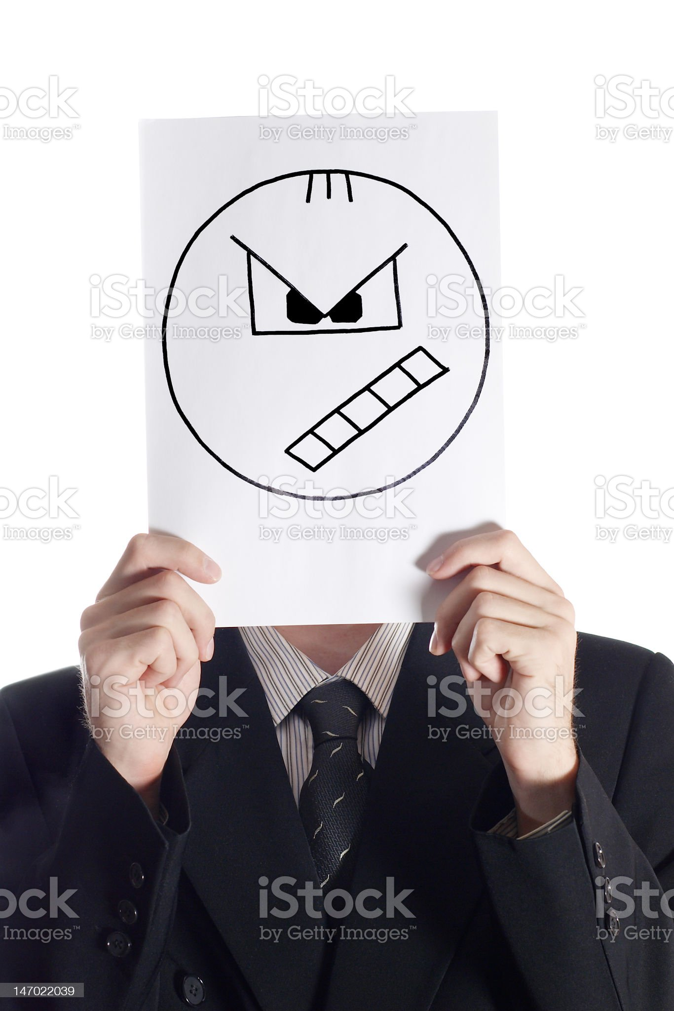 Man with the painted angry smile royalty-free stock photo