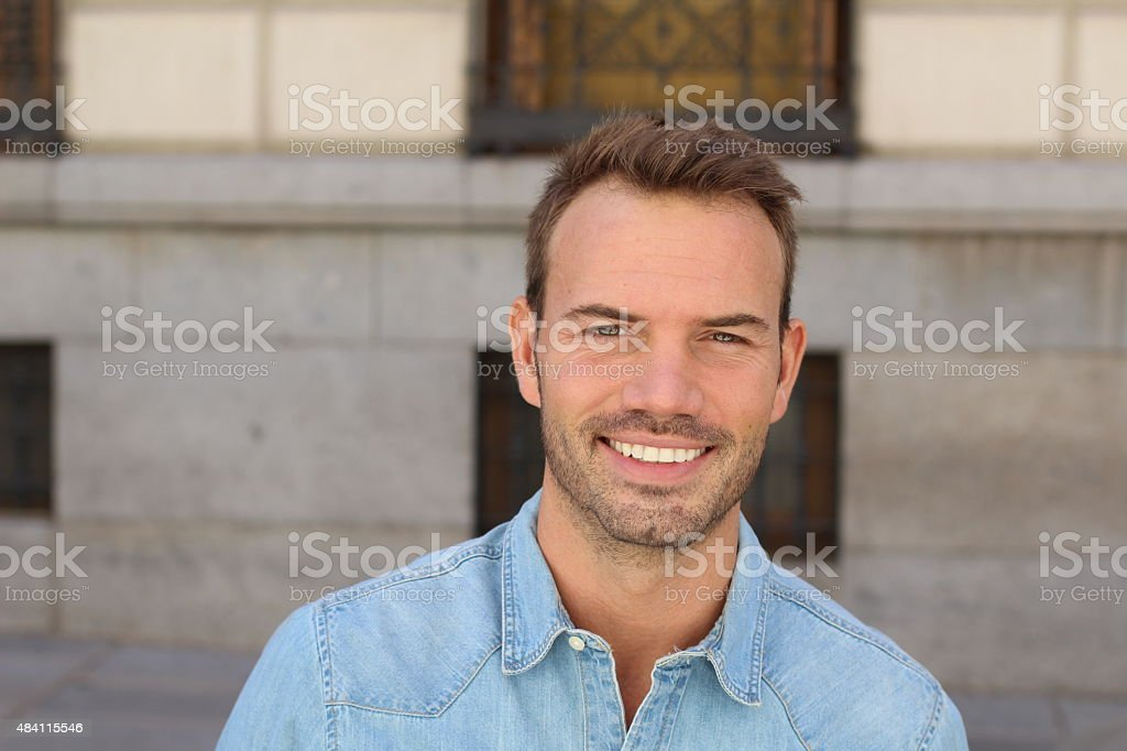 Man with the PERFECT SMILE stock photo