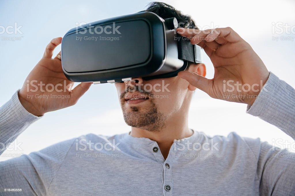 Man With The Virtual Glasses stock photo
