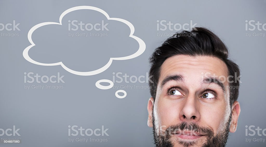 Man with thought bubble stock photo