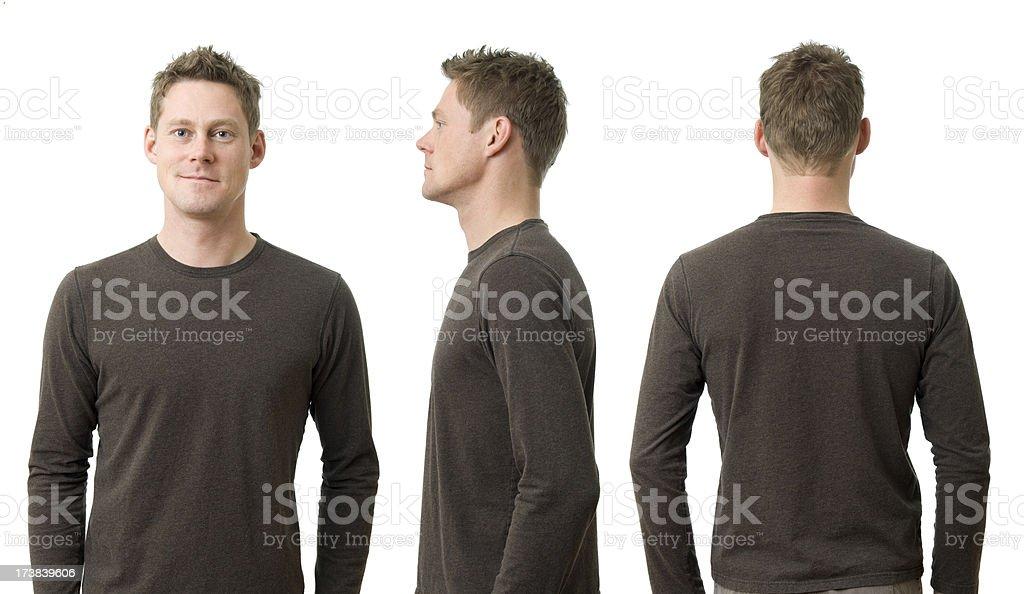 Man with Three Poses royalty-free stock photo