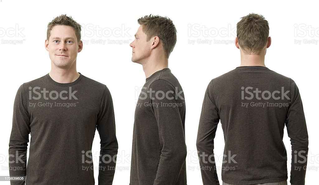 Man with Three Poses stock photo