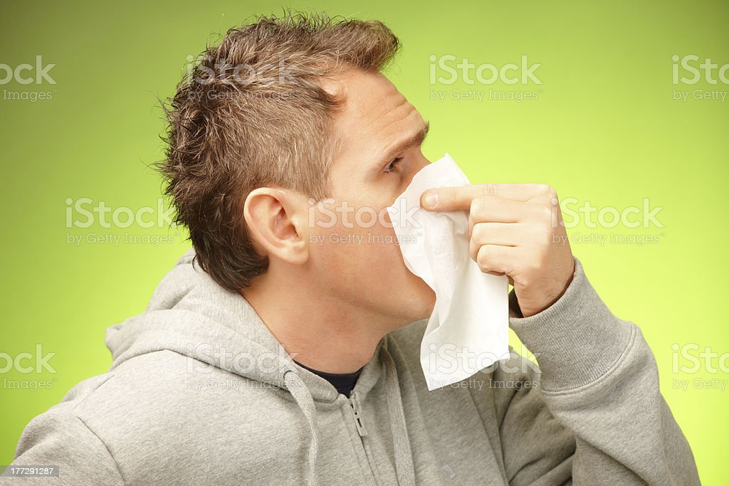Man with tissue royalty-free stock photo