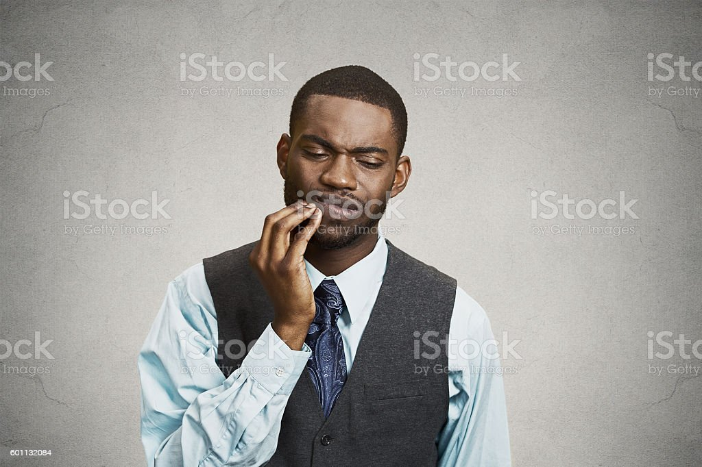 Man with tooth ache, pain stock photo