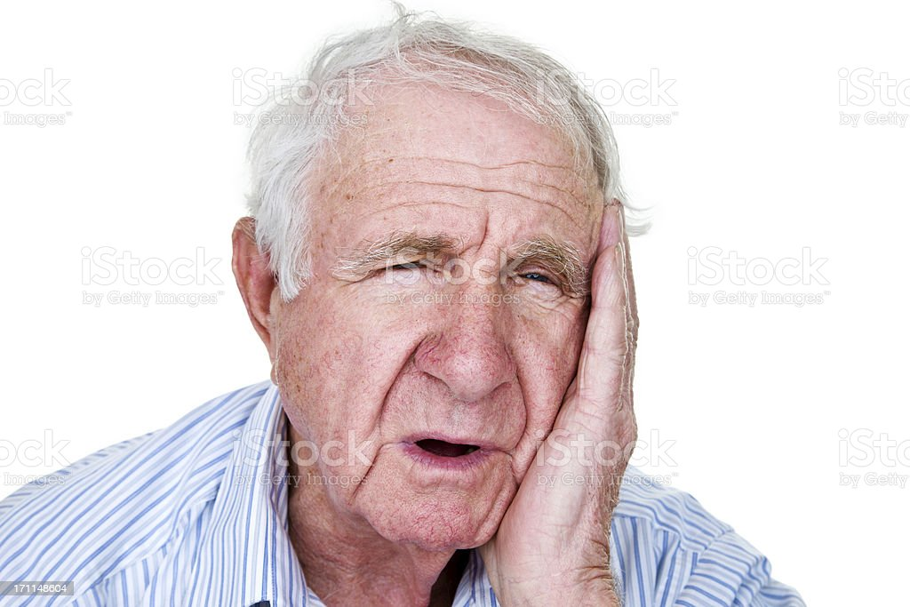 Man with toothache or receiver of bad news stock photo