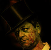 Man with top hat and bloody face