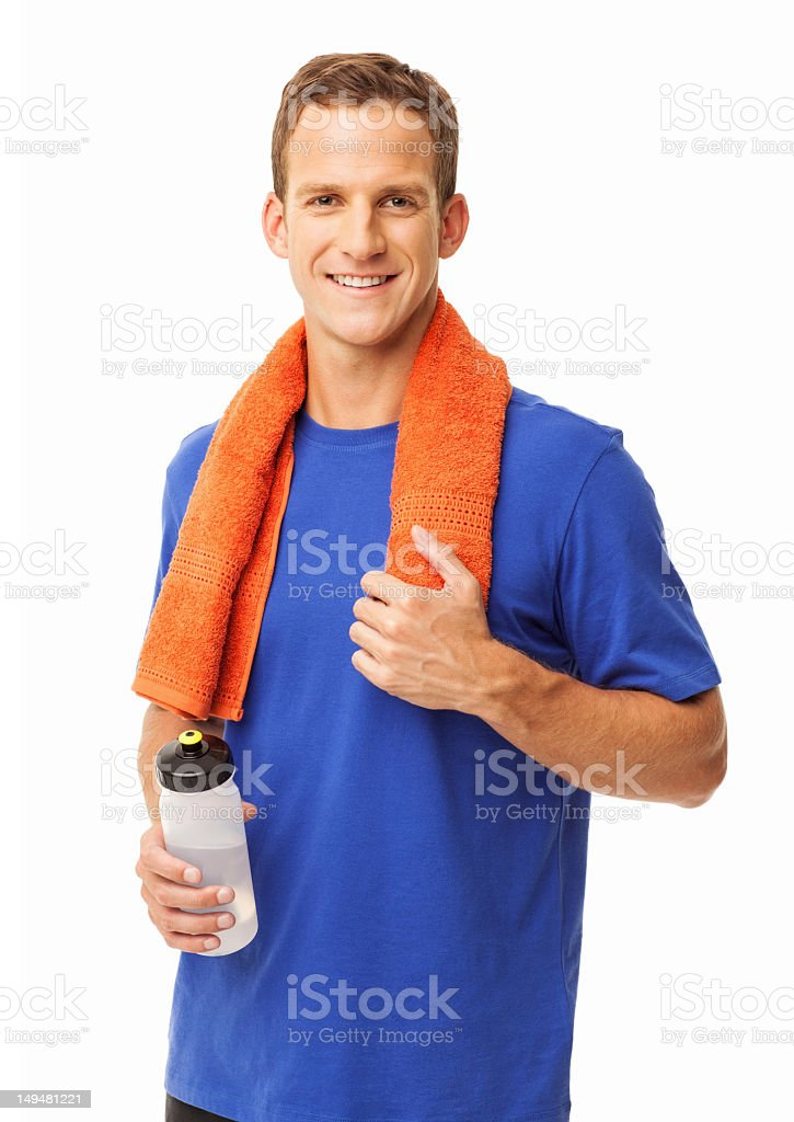 Man With Towel And Bottle Of Water - Isolated royalty-free stock photo
