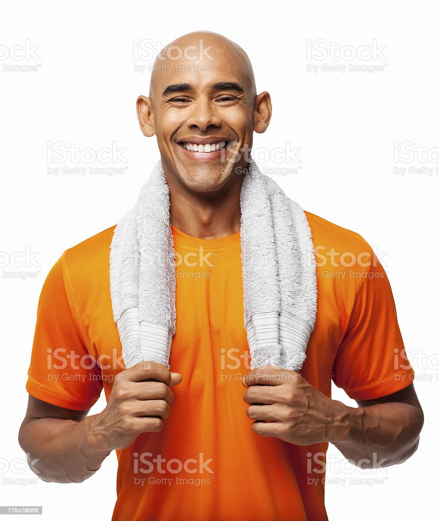 Man With Towel Around Neck - Isolated royalty-free stock photo