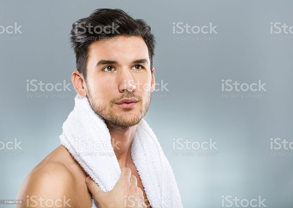 Man with towel royalty-free stock photo
