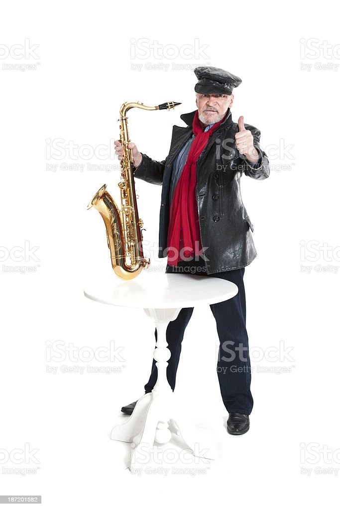 man with trumpet showing trumb royalty-free stock photo