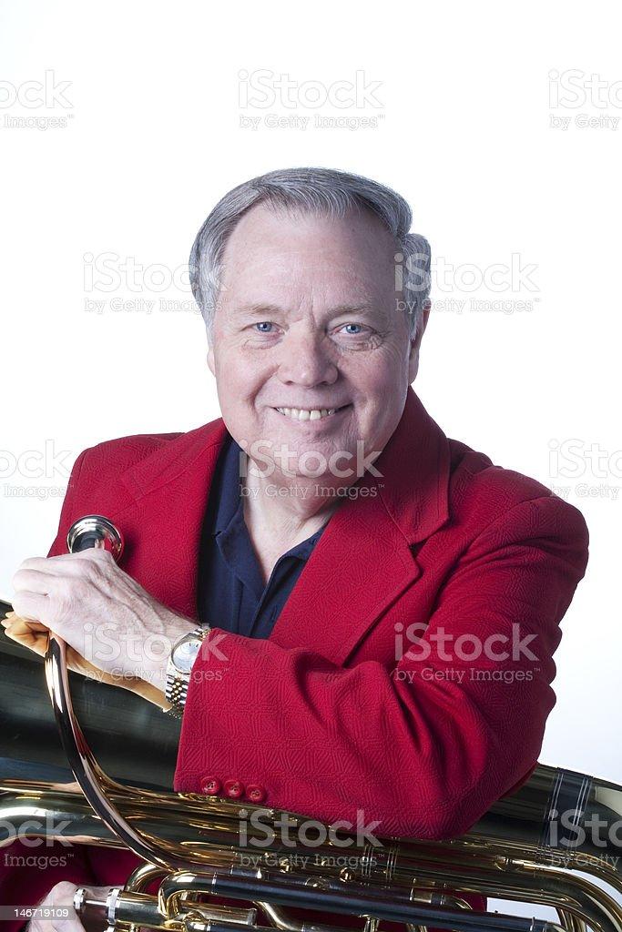 Man With Tuba Isolated On White stock photo