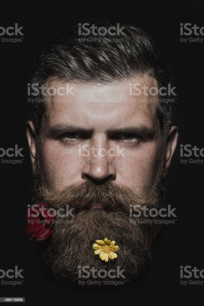 Man with two flowers on beard stock photo