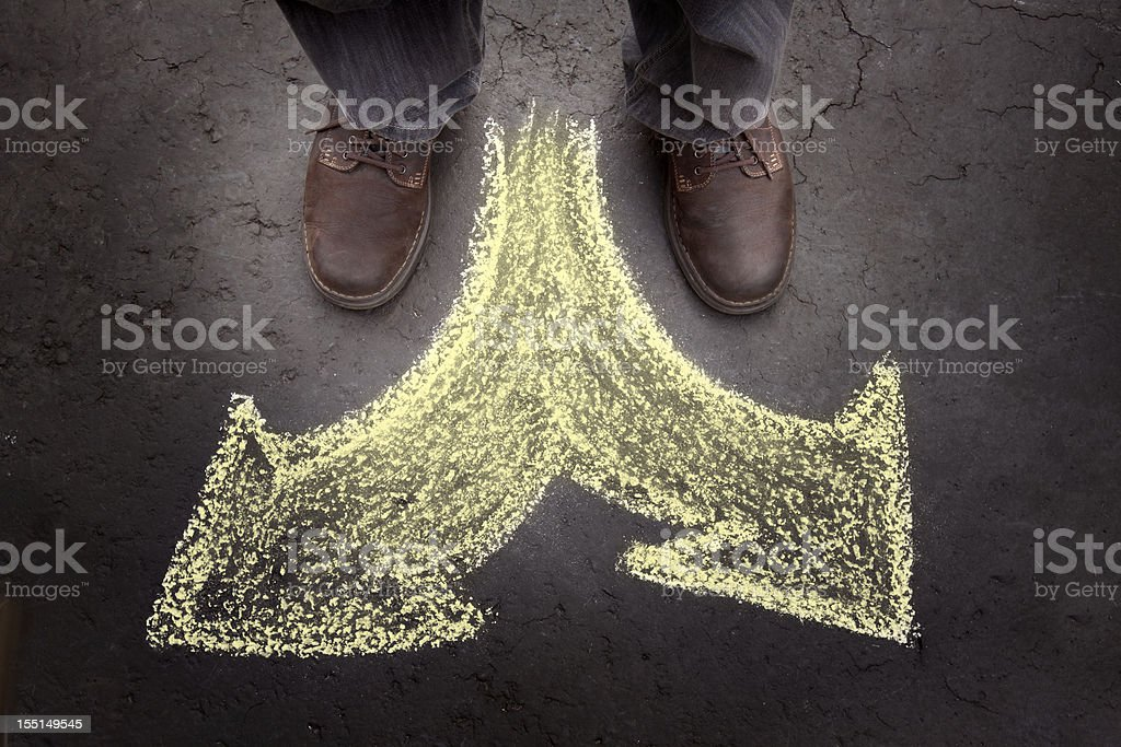 Man with Two Options (casual) stock photo