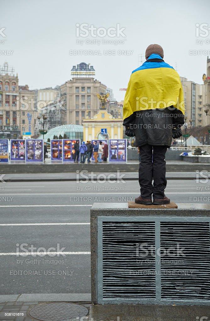 Man with Ukrainian flag stock photo